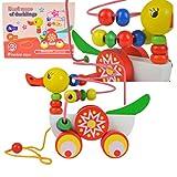 Holz Ente Anh,Nger Um Perlen Lernspiel Holzspielzeug für Kind Kinder Baby Motorikwürfel...