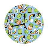 St. Patricks Day Leprechaun Regenbogen Hut Mini Motto gedruckte Muster Design Wanduhr Wohnzimmer...