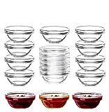 18x Dipschalen aus gehärtetem Glas - Für Dip, Marmelade, Konfitüre - Stapelbar - Für...