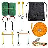 Tamkyo Slackline Hindernis Kit Ninja Line H?Ngend Hindernisparcours Backyard Zipline Kit für...