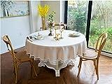 YOUZI Runde Tischdecke, beige Tischdecke Durchmesser 160cm Küche Esstisch Garten abwischbar...