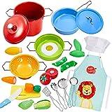 Buyger Kinderküche Spielküche Zubehör Kochgeschirr Spielzeug Edelstahl Töpfe Pfannenset...