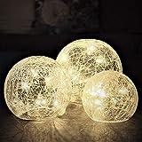 Gadgy Glaskugeln Licht mit Crackle Glas | Deko LED Kugel | Dekoration Wohnung Modern | Leuchtkugel |...