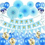 Geburtstagsdeko Party Deko Geburtstag Luftballons Blau Geburtstag Dekoration Set Ballons...