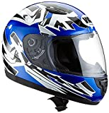 Protectwear SA03-BL-S Kinder Motorradhelm, Integralhelm, Gre S (Youth XL), Blau/Silber