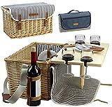 HappyPicnic Picknickkorb fr 4 Personen, Picknick Set mit Tisch und Picknick Decke, Weiden...