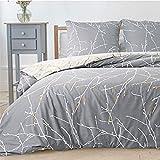 Bedsure Bettwäsche 135X200 Mikrofaser 2 teilig - grau Bettbezug Set mit schickem Zweige Muster,...