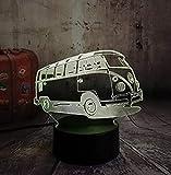 Nachtlichter 3D Patrol Bus Led 7 Farbwechsel Lava Nachtlicht Schlafzimmer Nachttischlampe Decor Kind...