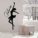 HGFDHG Ballerina Silhouette Wandtattoo Wort Logo Tänzerin Vinyl Aufkleber Mädchen Schlafzimmer...
