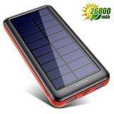 QTshine Solar Powerbank 26800mAh,Solarladegerät mit Eingängen Type C,Power Bank Hohe Kapazitat...