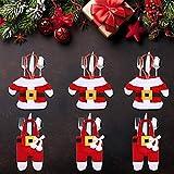 LATTCURE Weihnachten Bestecktasche 6PCS Weihnachtsdeko Taschen Tischdekoration Besteckbeutel...