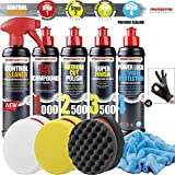 detailmate Auto Politur Set - Menzerna Autopolitur 250ml: Super Heavy Cut 1000 + Medium Cut 2500 +...