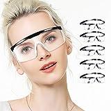 LETOUR 5 x Schutzbrille, UV-Schutzbrille für Augen, klare Anti-Beschlag-Gläser,...