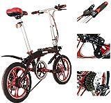 City Faltendes Fahrrad - 16 Zoll 6 Geschwindigkeit Kompakte Kompakte Bike Studenten Büroangestellte...