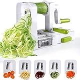 Sedhoom Spiralschneider mit 5 Klingen Faltbare Gemüse Spaghetti Gemüseschneider Für Gurke...