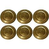 BigDean Platzteller Dekoteller Gold 36cm Goldteller Teller (6 Gold Teller)