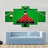 104Tdfc Puzzle 5 teilig Bilder wandbild 200x100CM Cadeau Snooker-Kugeln auf grünem Tisch Modulare...