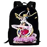 PitBuller Sailor Moon 3D Print Backpack School Bag Student Bookbag for Girls Boys