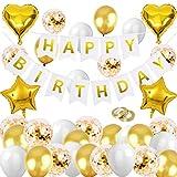 HEBANG Geburtstagsdeko Gold Set, Geburtstag Dekoration Gold, Happy Birthday Girlande, Geburtstagdeko...