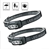 LED Scheinwerfer USB Wiederaufladbar, Stirnlampe Fischscheinwerfer Hell, Blitzlicht, Verstellbares...