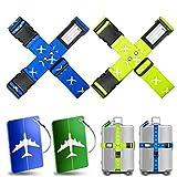 Koffergurt Kofferband Yosemy 4 Stück Gepäckgurt Einstellbare Kofferband 2 Stück Kofferanhänger...