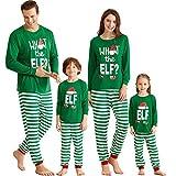 Yaffi Familien-passendes Pyjama-Set mit Weihnachtsmütze, Elf-bedrucktes Oberteil mit gestreifter...