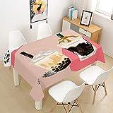 Hearda Tischdecke Abwaschbar Rechteckig, 3D Milchtee Thema Polyester Tischdecken Wasserdicht...