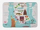 xnngxd NYC Badematte New York Infografik Kartografie mit berhmten Sehenswrdigkeiten Doodle Style...
