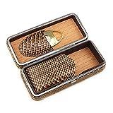 JJZXD Cigar Box-Classy Brown Pattern Leder Zigarre Tube Case mit Cutter Geschenk-Set
