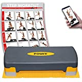 POWRX Steppbrett inkl. Workout & Anti-Rutsch-Matte I Aerobic Stepper höhenverstellbar I Home Step...