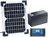 revolt Solarpaneel: Solarpanel (5 W) mit Ladewandler und Blei-Akku (Solarpanel 12V mit Akku)