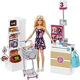 Barbie FRP01 Supermarch Supermarkt und Puppe, Mehrfarbig