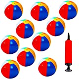 10er Set Aufblasbarer Wasserball, Badeball Schwimmball mit Luft-Pumpe Strandball, Bunt Farben -...