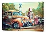 Blechschild Nostalgie Auto Retro G. Huber USA Tankstelle