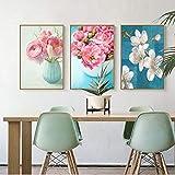 XWArtpic Nordic Poster Frische Blumen Rosa Rose Leinwand Malerei Dekoration Wandbilder für...