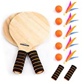 Overmont Spiel Set Racket Strandball Badminton Federball Schläger Cricket Ball und Familie Training...