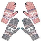 Chalier 2 Paare Touchscreen Handschuhe Damen Winterhandschuhe Frauen Baumwollhandschuhe Winter Warm...