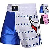 Mytra Fusion Kinder Boxshorts für Boxen, MMA, Muay Thai, Kickboxen, Training, blau/weiß, XS