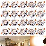 Hengda® 20X 3W Warmweiß LED Decken Einbaustrahler für Badezimmer Wohnzimmer küche Spot Leuchte...