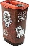 Rotho Cody Tierfutterbehälter 50 l, Kunststoff (PP), braun/orange mit Motiv 'Vintage Dog', 50 Liter...