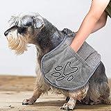 Hundetuch Mikrofaser Hundehandtuch Chenille mit Hand Taschen, Extra Saugfähig Haustie Handtücher...