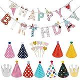 Lictin Party-Dekorationen Geburtstag Deko Set Girlande Wabenbälle Fans Papier Fan für Geburtstag...