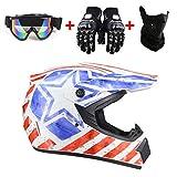 Zozmy Motorrad Crosshelm Motocross-Helm-Set (4-Teilig) mit Schutzbrillen-Handschuh Maske 4 Seasons...