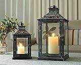 JHY DESIGN Set mit 2 Deko Laternen Windlicht Kerzen Laternen Metall Hängend Laternen Kerzenständer...