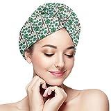 HomeLEE Schnell trocknende Haartücher, Turban, gepunktete afrikanische Tierfiguren mit grünen...