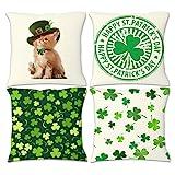 RNGIAN Kissenbezug Katze St. Patrick's Day 4er-Set quadratisch Baumwolle Leinen Kissen für...