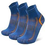 DANISH ENDURANCE Quarter Sportsocken (EU 39-42, Blau/Orange - 3 Paare)