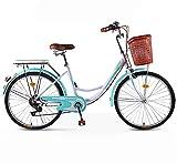 LJYTMZ 24/26 Zoll 6-Gang Komfort Fahrrad mit Korb und Rückenträger, Hollandrad, Damenfahrrad,...