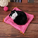 MISLD 1PC Schwarz Naturgetreue Tuch Kissen klein liegend Katze Simulation Katze Plüschkatze Nette...