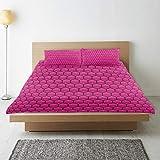 MAYBELOST Bettwsche-Set,Pink-Kamm-Muster-sechseckiger Druck,1 Bettbezug 240x260 + 2 Kopfkissenbezug